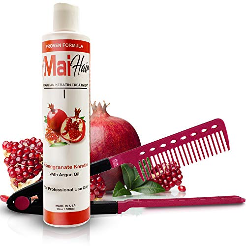 Brazilian Keratin Hair Treatment Complex + Straightening Comb - Professional Effective Fast Acting Formula Infused with Pomegranate and Argan Oil - FREE Straightening Comb Included! (10 oz)