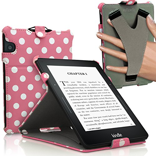 iGadgitz 'Vintage Collection' Pink with White Polka Dot PU Leather Case Cover for Amazon Kindle Voyage 7th Generation (Oct. 2014) with Viewing Stand + Auto Sleep/Wake + Hand Strap by igadgitz