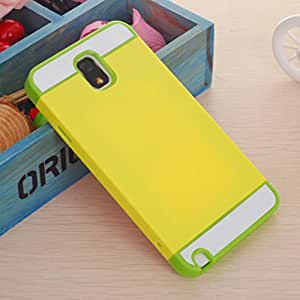 Cc Case Double Layers Colorful Case Cover with Card Slot for Silica Gel and Hard Shell Samsung Galaxy Note3 N9000 (1-yellow green)