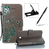 Strap Leather Case for Samsung Galaxy J5 2017 J520,Portable Wallet Case for Samsung Galaxy J5 2017 J520,Herzzer Bookstyle Retro Brilliant Butterfly Flower Pattern Stand Magnetic Smart Leather Case with Soft Inner for Samsung Galaxy J5 2017 J520 + 1 x Free Black Cellphone Kickstand + 1 x Free Black Stylus Pen - Gray