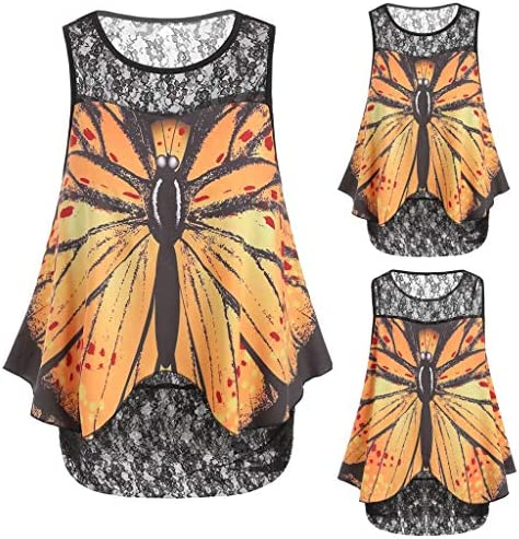 HebeTop◄ Women Butterfly Print Sleeveless Lace Panel Casual Shirt Oversized Loose Top Yellow