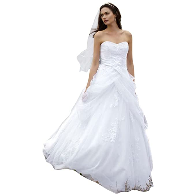 Sample Tulle Ball Gown With Lace Up Back And Side Swags Style