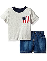The Children's Place Baby Boys' USA Flag Pocket Tee and Short Set