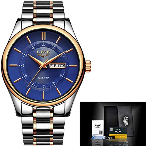 LIGE Men Watch 30m Waterproof Mens Watches Top Brand Luxury Steel Watch Chronograph Male Clock Casual