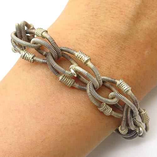 VTG 800 Silver Modernist Design Wide Multi-Link Bracelet 6.5