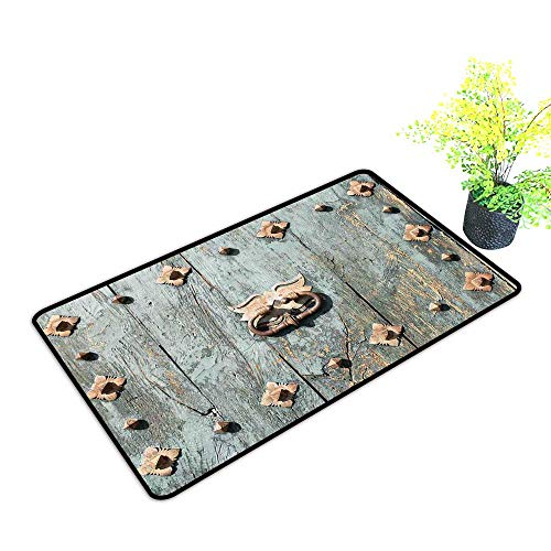 Diycon Entrance Door mat Rustic European Cathedral with Rusty Old Door Knocker Gothic Medieval Times Spanish Style W31 xL47 Quick and Easy to Clean Turquoise