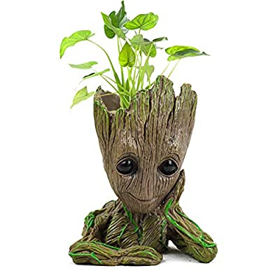 Groot Flower Pot Tree Baby Succulent Planter Cute Green Plants Flower Pot Action Figures Model Toy Pen Pencil Holder PVC Planter : Garden & Outdoor