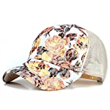 ZLSLZ Women's Mesh Lace Flower Print Sun Hat Floral Trucker Baseball Cap Hat (1Beige)