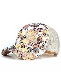 ZLS Womens Mesh Lace Flower Print Sunhat Trucker Baseball Cap