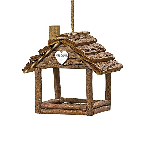 Cozy Cabin Bird House, Plant Hanger, Ornamental, Rustic Log Cabin, Natural Wood, Bark and Twine, White Heart Accent, 7 ½ L x 5 ½ W x 7 H