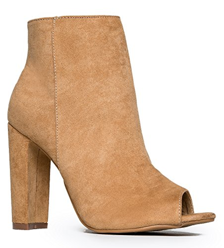 Peep Toe High Heel Boot - Sleek Leather Ankle Bootie - Classic Zip Up Boot - Easy Essential Everyday Shoe Camel Suede 9 B(M) - Tony And Burch