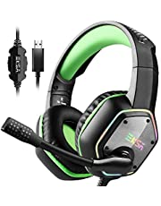 EKSA USB Gaming Headset - 7.1 Surround Stereo Sound - PS4 Headphones with Noise Canceling Mic & RGB Light - Over Ear Gaming Headphones, Compatible with PC, PS4 Console, Laptop