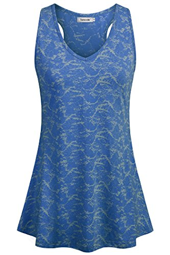 Tencole Blue Tunics for Women Plus Size Sleeveless Flowy Loose Fit Tank Top Juniors Breathable Clothing Womens Basic Camisole (Tunic Racerback Top Drape)