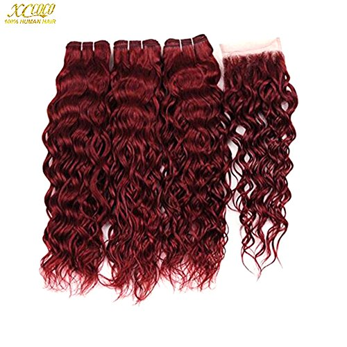 XCCOCO Hair 3 Bundles #99j Burgundy Water Wave with 4X4 Lace Closure Peruvian Virgin Wine Red Wet and Wavy Human Hair Weave Bundles with Free Part Top Closure(20 22 24+18inch Closure)
