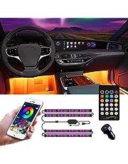 Interior Car Lights, Car LED Strip Light with APP Controller, 4pcs 48 LED Car Interior Lights Kit, Multi DIY Color Music Under Dash USB Car Strip Lights