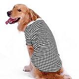 Petroom Dog Striped T-shirt For Medium Large Dogs,Dog Cute Shirts, Breathable Cotton Dog Vest Black Stripe L