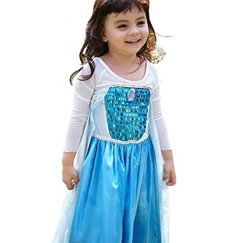 Sister Act Halloween Costume (Snowflake Dress with Elsa Pin (6-7 years old, Light Blue))