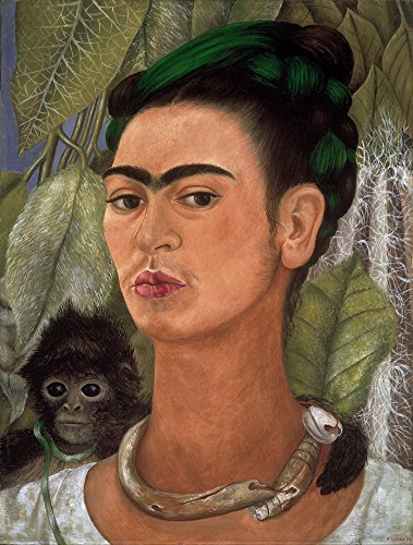 Frida Kahlo Giclee Canvas Print Paintings Poster Reproduction (Self Portrait with Monkey1)