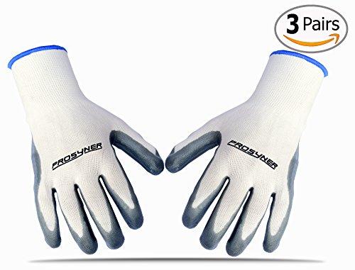 Premium Quality Nylon & Nitrile Garden Gloves - Best Waterproof Gardening Glove Fits Women and Men Perfect for Rose Pruning & Heavy Duty (3 Pairs) (Waterproof Garden Gloves)