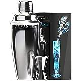 Nuvantee Cocktail Shaker - Premium Bar Set w/Free Jigger & Recipes(e-Book) 24oz w/Built-in Strainer
