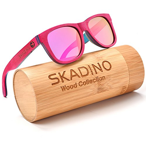 SKADINO Wayfarer Maple Wood Sunglasses with Polarized Lenses-Handmade Floating Skateboard Wooden Shades for Men & - Bans Pink Ray
