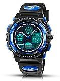 AZLAND Updated Sports Digital Kids Wrist Watches for Boys Quartz Analog Pointer Waterproof Teenagers Wacth Blue