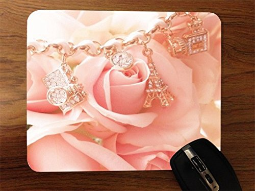 Trendy Accessories Beautiful Pink Rose With Gold Chain Design Print Image Desktop Office Silicone Mouse Pad