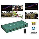 SOFLY HDMI 4x1 Quad Multi-Viewer. Switcher 4 Ports with Seamless Switcher and IR Remote Control Compatible HDMI 1.4a