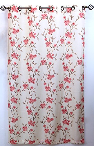 """Venice Collections Luxury Printed Window Curtain Panel w 8 Bronze Color Grommet, 54"""" X 84"""" Jennifer (Rose)"""
