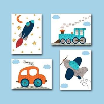 Kinderzimmer Poster Set Fahrzeuge Bunt Din A4 Matt Amazon De Auto