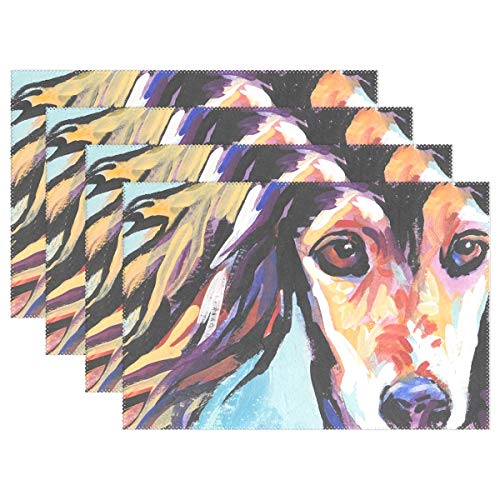 (Danlive Saluki Hound Placemats Dining Table Mats for Home Kitchen Office, Set of 4)