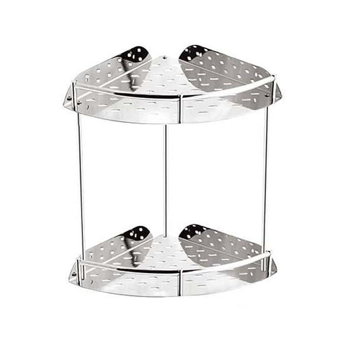 Doble Estantería de Baño Ducha de esquina, 2 diseño de la capa montado en la pared de acero inoxidable para accesorio de baño (22*29*2.5 cm): Amazon.es: ...
