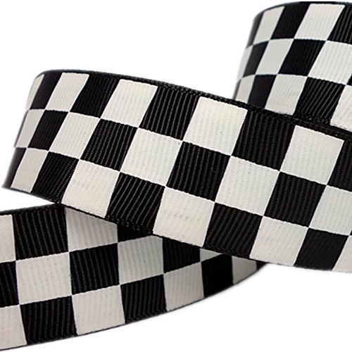25yd 1quot Black Solid Grosgrain Ribbon White Race Checkerboard Pattern Printed for Hairbow