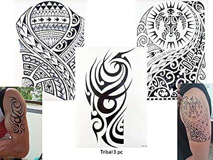 Tribal Tattoo Negro 3 Pliegos Temporär Brazo Brazo Pegatinas Tatuaje