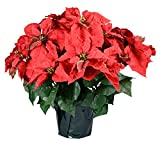 """23"""" Realistic Red Artificial Foil Potted Christmas Poinsettia Plant"""