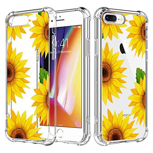 RicHyun Sunflower Case for iPhone 8 Plus, Clear Floral Pattern Soft Flexible TPU Protective Bumper Case for iPhone 8 Plus/iPhone 7 Plus