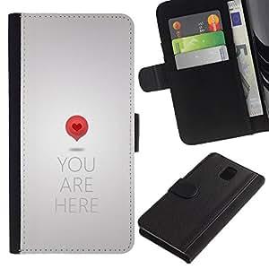 WINCASE Cuadro Funda Voltear Cuero Ranura Tarjetas TPU Carcasas Protectora Cover Case Para Samsung Galaxy Note 3 III - cita gris metalizado amor del corazón