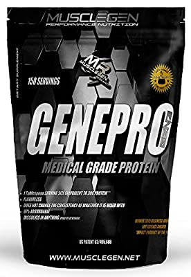 Medical Grade Protein, GENEPRO by Musclegen Research - Premium Protein for Absorption, Muscle Growth & Mix-Abilty. Gluten Free, No Sugar, Flavorless and Mixes with any Drink. 150 Servings 5lb