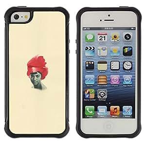 Suave TPU GEL Carcasa Funda Silicona Blando Estuche Caso de protección (para) Apple Iphone 5 / 5S / CECELL Phone case / / African American Woman Black Red Hair Art /