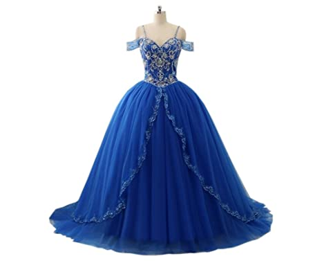 Mollybridal Long Prom Evening Dresses for Women Ball Gowns Cold Shoulder Beaded Sequin Corset Back Blue
