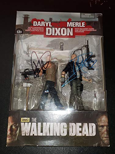 Norman Reedus and Michael Rooker - Autographed Signed Daryl and Merle Dixon McFarlane Toy Figure - The WALKING DEAD - Zombie - AMC