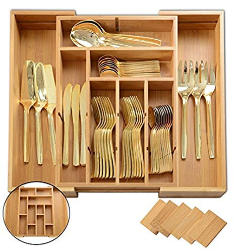 Utensil Drawer Organizer | Divides up to 13 Compartments | Cutlery,Silverware,Flatware Expandable Bamboo Kitchen Drawer Organizer Cutlery Tray | Height 2 3/8'' | by: Adorn … by Adorn Home Essentials
