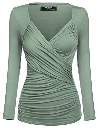 Zeagoo Women's Cross-front V Neck Pullover T-Shirt Ruched Blouse,Green New,Small - Front Blouse Tuck