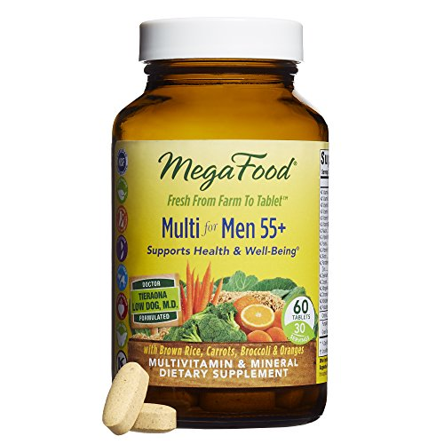 MegaFood - Multi for Men 55+, Multivitamin Support for Energy Production, Brain Function, Prostate and Heart Health with Zinc and Methylated Folate, Vegetarian, Gluten-Free, Non-GMO, 60 Tablets (Vegetarian Mega Vitamin)