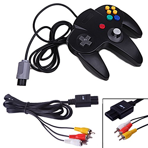 HDE Wired Controller and AV Cable for Nintendo 64 Console Replacement RCA Composite Video Cable and Controller for N64 Game Console from HDE