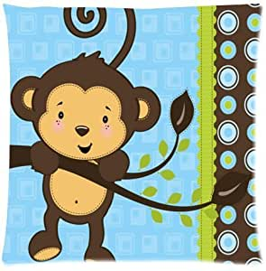 Hipster Monkey Gorilla Soft Square Zippered Cushion Throw Case Pillow Case 18X18 inch (one side) Best Gift