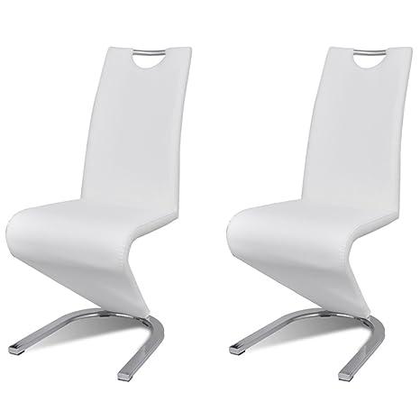 2x silla de comedor silla silla set sillas tapizadas silla cantilever blanco