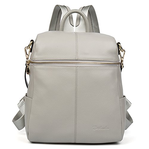 BOSTANTEN Geniune Leather Fashion Backpack Purse Casual Bags for Women Lightgray