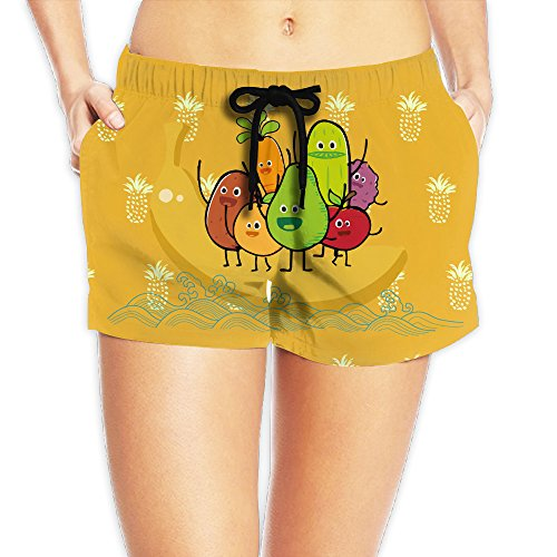 Cute Funny Avocado Banada Fruit Party Women's Board Shorts Beach Shorts Summer Swim XL by Water-fan