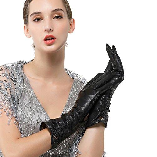 - Women's Italian Lambskin Leather Glove Winter Warm Long Fleece Lining Gloves